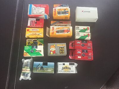 Lot 15 Vintage Single Use 35mm Camera Advertising Marlboro Kellogg's Jim Beam +