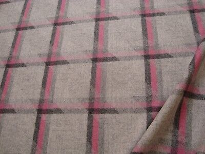 """One yd CAMIRA WOOL PLAID FABRIC 19 oz UPHOLSTERY COAT Gray Pink 60"""" x 36"""" BTY"""