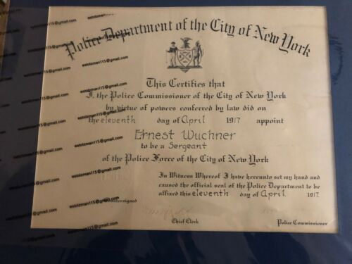 RARE 1917 ID'd, CITY OF NEW YORK, POLICE COMMISSION CERTIFICATE (SGT)