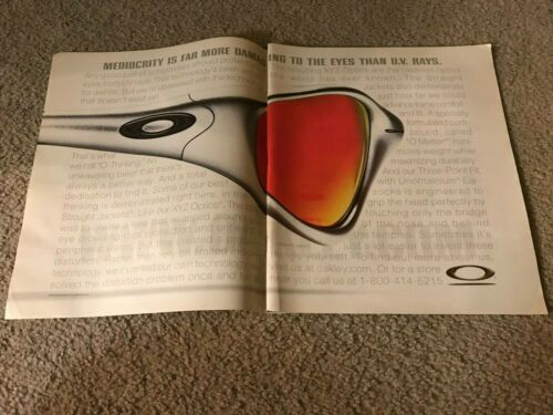 Vintage 2000 OAKLEY STRAIGHT JACKET SUNGLASES Poster Print Ad SILVER FRAMES