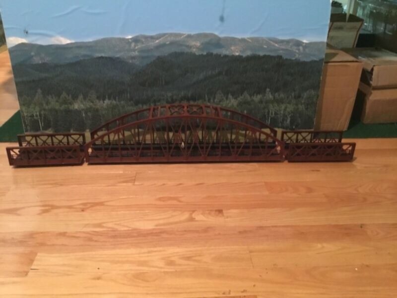 "MTH 40-1031 O Gauge 30"" Rust Steel Arch Bridge 2- 40-1032 Rust Grinder Bridges"