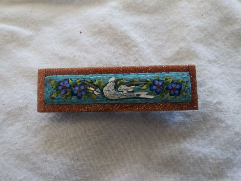 Antique Vintage Italian Micro Mosaic Dove with Florals and Goldstone Border