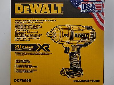 "DEWALT DCF899B 20V 20 Volt max Lithium ion Brushless 1/2"" Impact Wrench Detent"