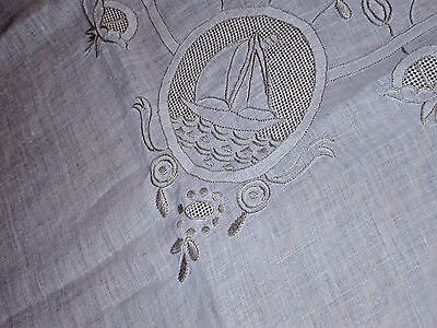 Antique Fine Linen Tablecloth w 6 Napkins. Embroidered w Sailboats, Lighthouses