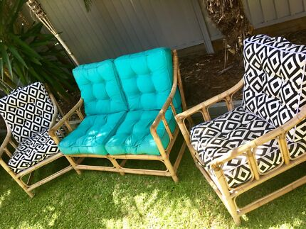 Outdoor / Indoor bamboo couch / lounge setting with cushions.