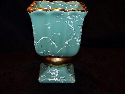 Vintage Bisque Planter Vase Urn Aqua & White Shafer 23k Gold Trim Very Nice