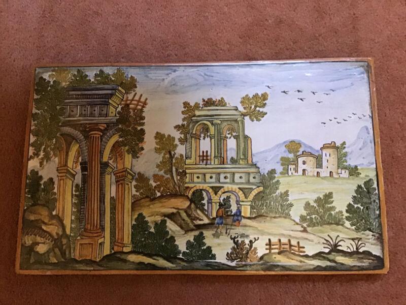 Antique Framed Pictorial Ceramic Tile
