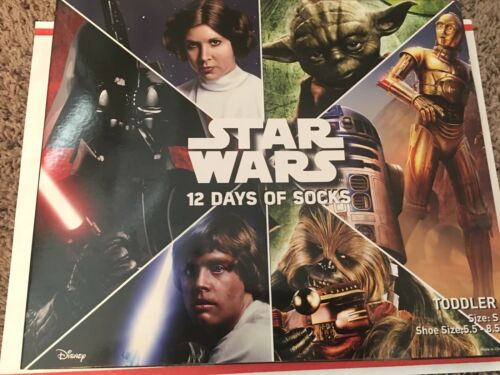 STAR WARS 12 Days Of Socks Holiday Gift Set Toddlers Sm 5.5-