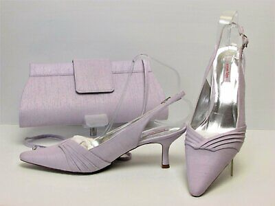 Jacques Vert Lilac Slingback Shoes 7/40 New and Matching Bag Used Once