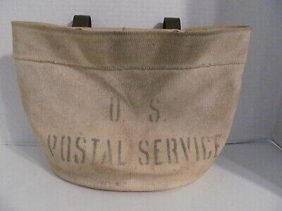 Vtg US Postal Service Mail Burlap Bag Pouch w/Metal Hanging Brackets