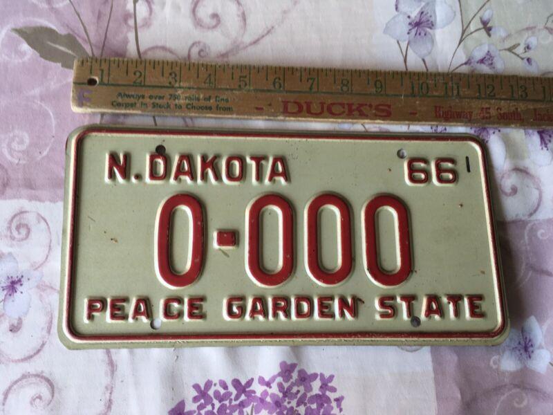 1966 Original North Dakota Sample License plate # 0-000