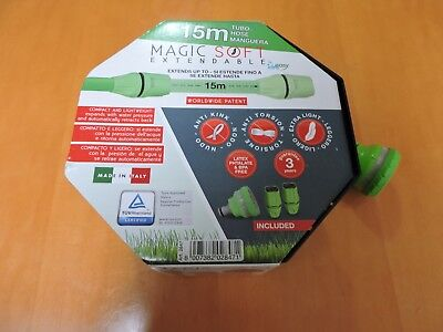 Expandable Flexible 15 Mt Garden Hose Magic Soft with 2 Fittings and 6 Functions