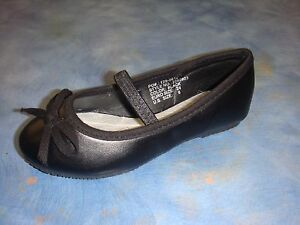 New-Baby-Girl-Black-Flats-Ballerina-Slippers-Slip-On-Shoes-size-6-9-Toddler