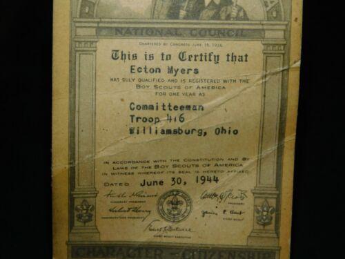 Vintage Membership Card Boy Scouts Committeeman 1944 Williamsburg Ohio