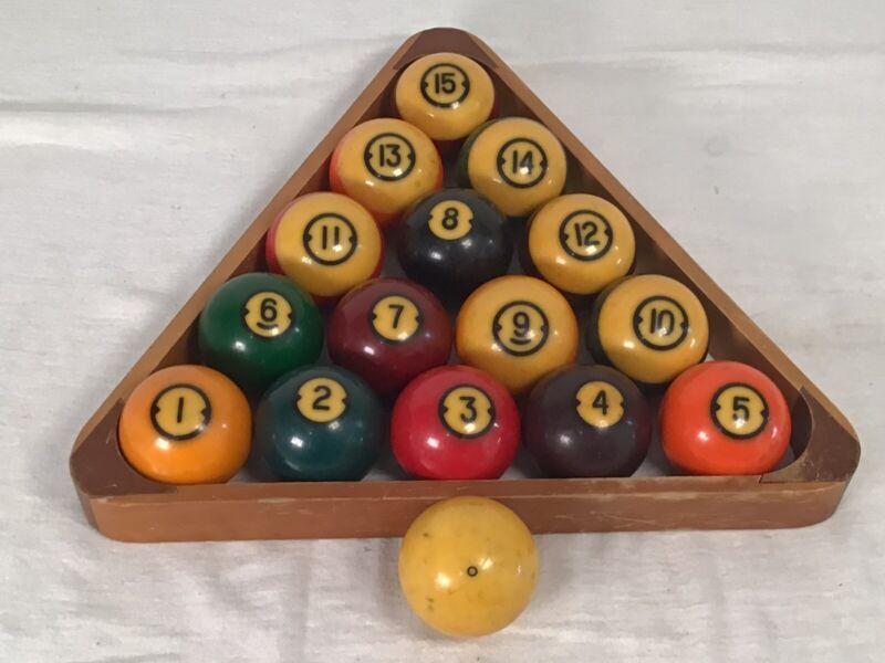 Vintage Brunswick Centennial Pool Balls W/Wood Rack – Complete Set Nice!