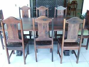 Rustic Solid railway sleeper table and 8 chars. North Lakes Pine Rivers Area Preview