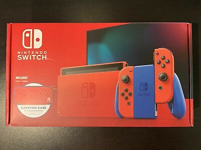 Nintendo Switch MARIO RED BLUE Limited Edition Console + Carrying Case BRAND NEW