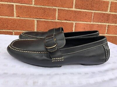 POLO RALPH LAUREN Men's black  Leather Mocs Loafers Buckle shoes 12 D