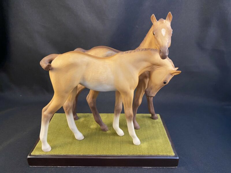 CYBIS HORSES 1969 PAIR DARBY AND JOAN DOUBLE PORCELAIN COLT FIGURINE W STAND