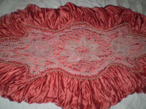 Beautifully vintage handmade - PILLOW - lace POAN-LAS    red satin