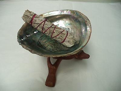 "Abalone Shell, 6"" Tripod Stand and White Sage Smudge Stick: House Cleansing Kit"