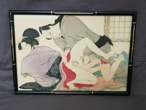 "VINTAGE JAPANESE SHUNGA EROTIC IMAGE PRINT 14"" X 9.5"" JP001"