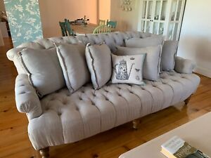 French Provincial linen sofa & armchairs x 2