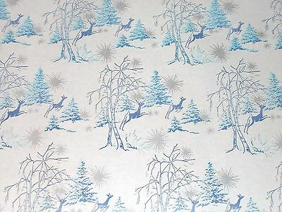 VTG CHRISTMAS WRAPPING PAPER GIFT WRAP WW2 ERA 2 YARDS REINDEER SNOW SILVER 1940