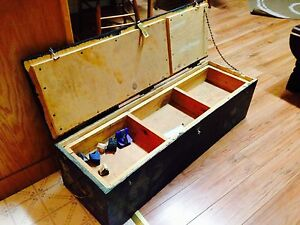 """Vintage Wooden Carpenters Tool Box With Insert, 38.5"""" x 12"""" x11"""""""