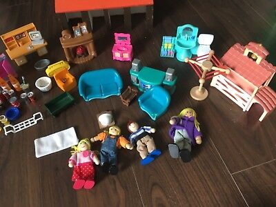 Bundle  dolls house furniture including wooden figures some vintage pieces