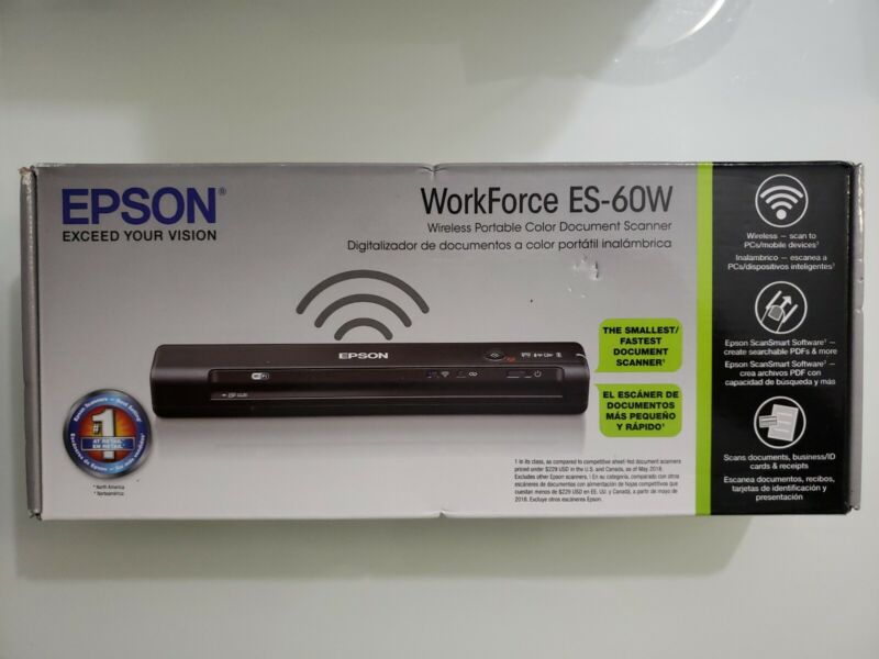 Brand New- Epson WorkForce ES-60W Wireless Portable Document Scanner Y