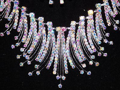 - Bridal Silver AB Iridescent Rhinestone Crystal Necklace and Earrings Set /8433