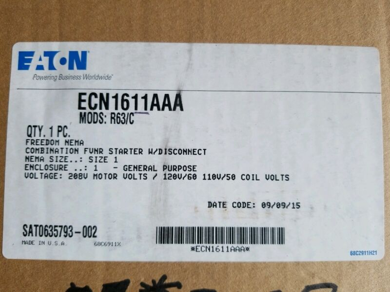 Eaton Combination Motor Controller # ECN1611AAA New