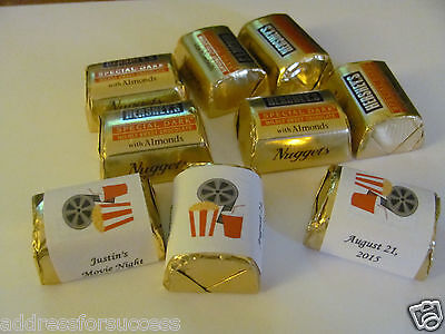 60 Personalized Movie Theme Birthday Candy Hershey Nugget Labels Wrappers](60 Birthday Themes)