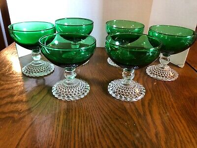 Six Anchor Hocking Forest Green Boopie Bubble Footed Sherbet Dishes Forest Green Glassware