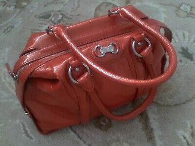 NEW WITHOUT TAGS MICHAEL KORS RUSTIC ORANGE PATENT LEATHER SATCHEL BAG PURSE