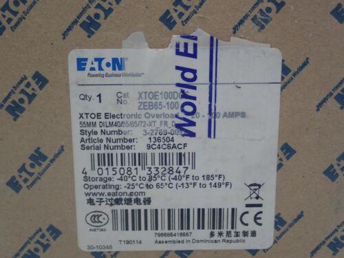 NEW EATON Electronic Overload 65-100 amp 3P XTOE100DCS  ZEB65-100 DILM40 XTOE