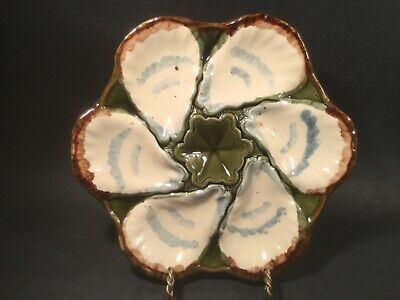 ⭐ Antique RARE French Majolica Oyster Plate VALLAURIS 1940