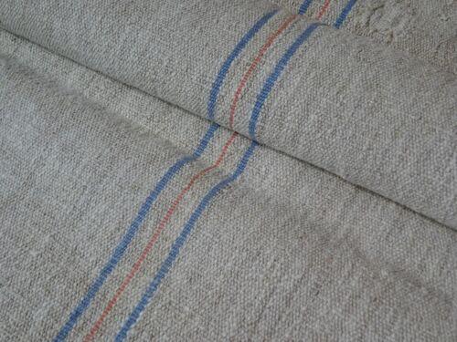 Antique European Feed Sack GRAIN SACK  Blue & Red Stripes # 9521