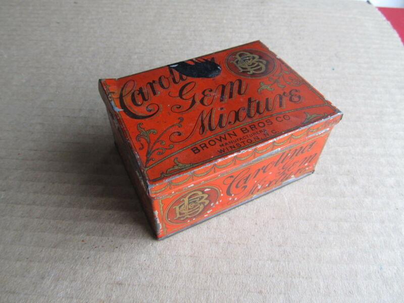 Tobacco Tin Antique Carolina Gem Mixture Brown Bros Co Winston NC North Carolina