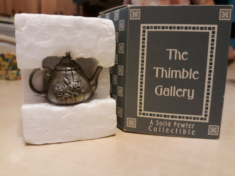The Thimble Gallery Solid Pewter Collectible Thimble, Teapot