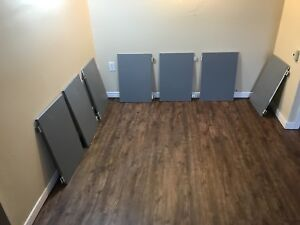 Wooden kitchen cabinet doors painted in grey