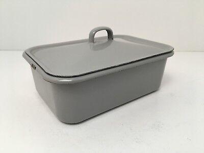 Vintage Porcelain Enamel Medical Supplies Instrument Container Enamelware Gray