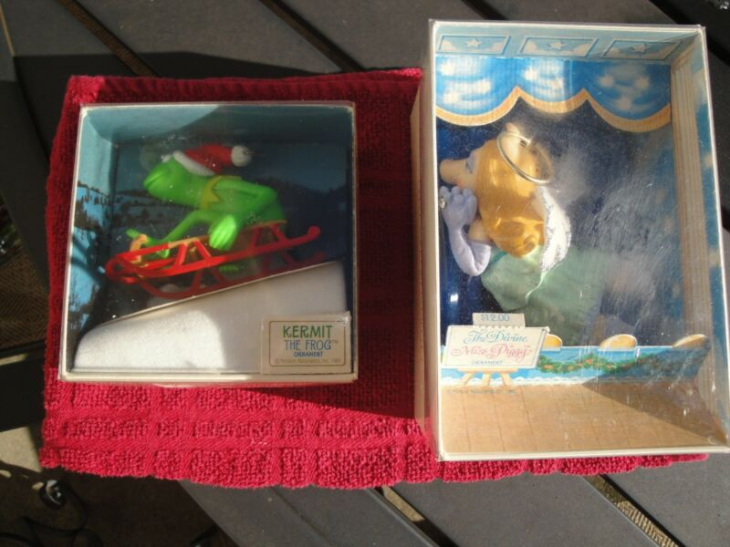 Vintage 1981 Hallmark Ornaments Divine Miss Piggy and Kermit the Frog on Sled
