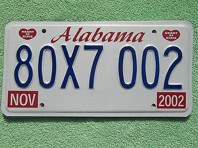 80X7 002 = NOS 2002 Alabama Heart of Dixie license plate    Letters Bird House