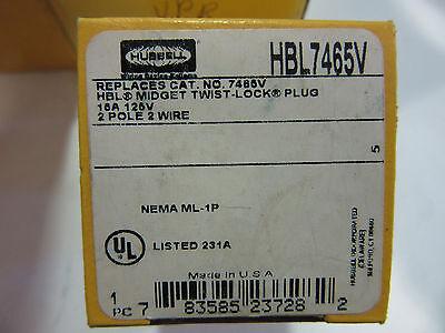 Hubbell HBL7465V Midget Twist-Lock Plug 2 Pole 15A NEW!!! in Box Free Shipping
