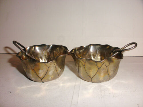 Antique Pair Of Aesthetic Shiebler Sterling Silver Leaf Form Open Salts & spoons