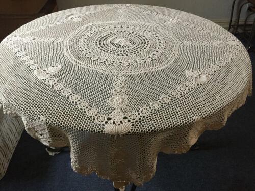 VINTAGE ANTIQUE Square Beige Handmade Crocheted Cotton Tablecloth 134X134cm