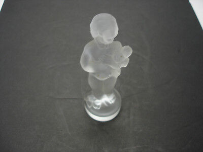 Frosted Glass Vintage Statue Of A Boy Bohemian Czech Signed Moser Karlsbad LOOK