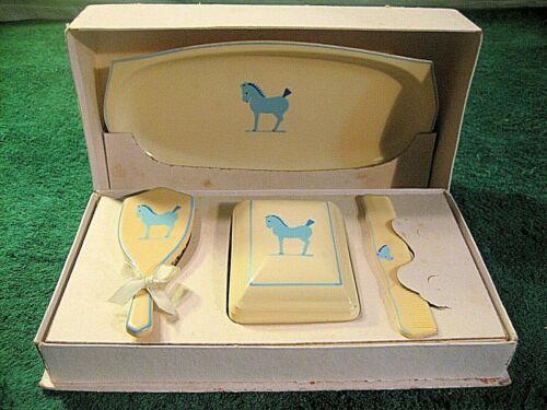 VINTAGE CELLULOID DRESSER VANITY SET BLUE PONY INFANT CHILDS BABY ORIGINAL BOX